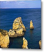Rock Formations In The Sea, Algarve Metal Print