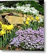 Rock Garden Flowers Metal Print