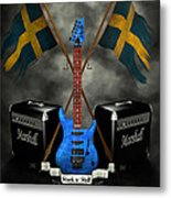 Rock N Roll Crest- Sweden Metal Print by Frederico Borges