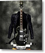 Rock N Roll Crest-the Guitarist Metal Print by Frederico Borges