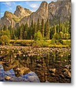 Rock Reflections On The Merced Metal Print