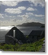 Rock Ruin By The Ocean - Ireland Metal Print
