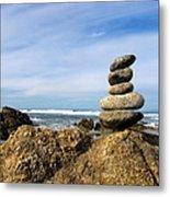 Rock Sculpture At The Beach Metal Print