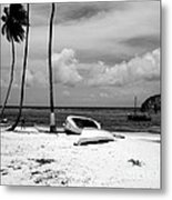 Rock The Boat  Black And White Metal Print