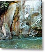Rock Wall And River Metal Print