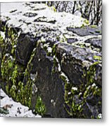 Rock Wall With Moss And A Dusting Of Snow Art Prints Metal Print