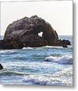 Heart Rock Near San Francisco Ca Cliff House Metal Print
