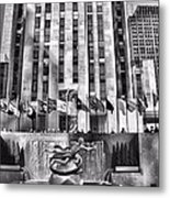 Rockefeller Center Black And White Metal Print
