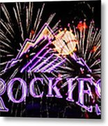 Rockies And Fireworks Metal Print by Bob Hislop