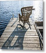 Rocking Chair On Dock Metal Print