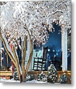 Rocking Chair On Porch In Winter Metal Print
