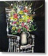 Rocking Chair With Flowers Metal Print