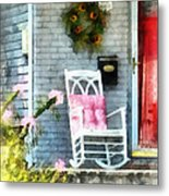 Rocking Chair With Pink Pillow Metal Print