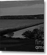 Rockland Breakwater Lighthouse  - Black And White Metal Print