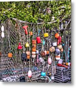 Rockport Fishing Net And Buoys Metal Print