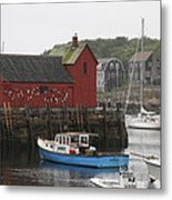 Rockport Inner Harbor With Lobster Fleet And Motif No.1 Metal Print