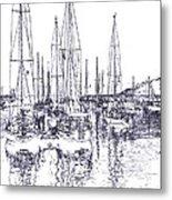 Rockport Sailboats - Photo Shetch Metal Print