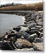 Rocks Along The Shore At Sandy Point Metal Print