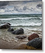 Rocks And Waves At Wilderness Park In Sturgeon Bay Metal Print