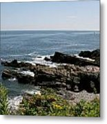 Rocks Below Portland Headlight Lighthouse 4 Metal Print