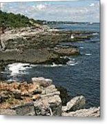 Rocks Below Portland Headlight Lighthouse 5 Metal Print