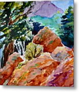 Rocks Near Red Feather Metal Print