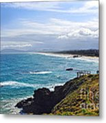 Rocks Ocean Surf And Sun Metal Print
