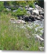 Rocks On The Shore Shadow Mountain Lake Metal Print