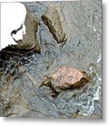 Rocks Snow And Water Metal Print