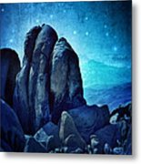 Rocky Cliff In Starlight Metal Print
