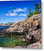 Rocky Coast And Clear Water Of Lake Superior Metal Print