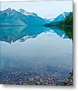 Rocky Mountain And Rocky Bottom Reflection In Lake Mcdonald In Glacier National Park-montana Metal Print