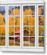 Rocky Mountain Autumn Ranch White Window View Metal Print