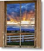 Rocky Mountain Country Beams Of Sunlight Rustic Window Frame Metal Print