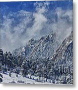 Rocky Mountain Dusting Of Snow Boulder Colorado Metal Print