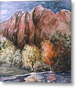 Rocky Mountain Fall Landscape - Water Color Metal Print