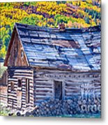 Rocky Mountain Rural Rustic Cabin Autumn View Metal Print