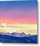 Rocky Mountain Sunset Clouds Burning Layers  Panorama Metal Print