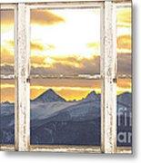Rocky Mountain Sunset White Rustic Farm House Window View Metal Print