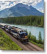 Rocky Mountaineer At Muleshoe On The Bow River Metal Print by Steve Boyko