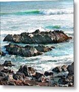 Rocky Ocean Shoreline One Metal Print