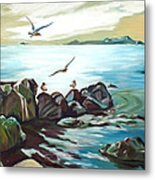 Rocky Seashore And Seagulls Metal Print