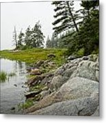 Rocky Shore By The Narrows To Mount Desert Island Metal Print