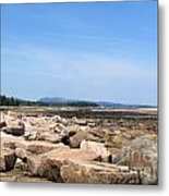 Rocky Shore To Rocky Mountain Metal Print