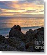 Rocky Shoreline At Sunset Metal Print
