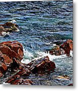 Rocky Shoreline - Coast -  Painterly Effects -  Panorama Metal Print