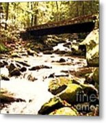 Rocky Stream With Bridge Metal Print