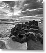 Rocky Surf In Black And White Metal Print