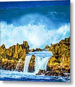 Rocky Waves North Shore Metal Print by Lisa Cortez