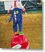 Rodeo Barrel Clown Metal Print
